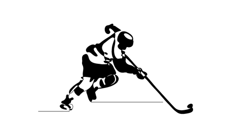 Continuous line drawing. Black and white illustration shows hockey player in attack Vector illustration