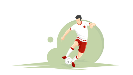 Creative abstract soccer player. Soccer Player Kicking Ball. Flat Vector illustration