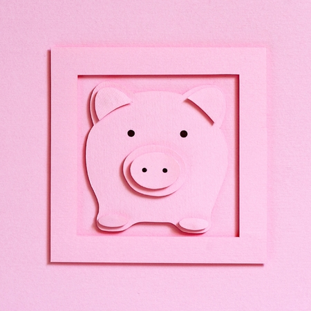 Symbol of the year of Pig on a pink textured background, top view