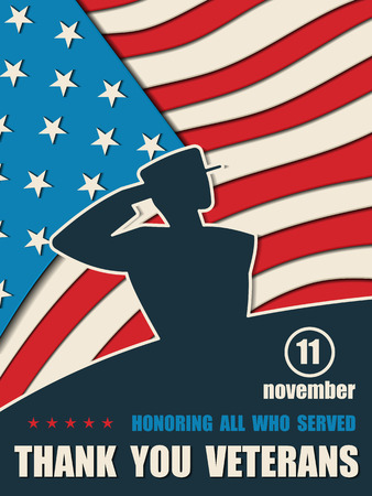 Happy Veterans Day. Greeting card with USA flag and soldier on background. American traditional patriotic celebration. Honoring all who served. November 11 Illustration