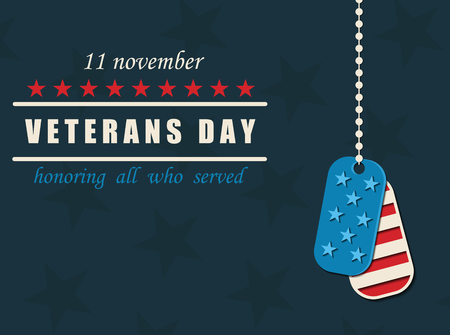 Happy Veterans Day. Military dog tags. American traditional patriotic celebration. Honoring all who served. November 11 Vettoriali