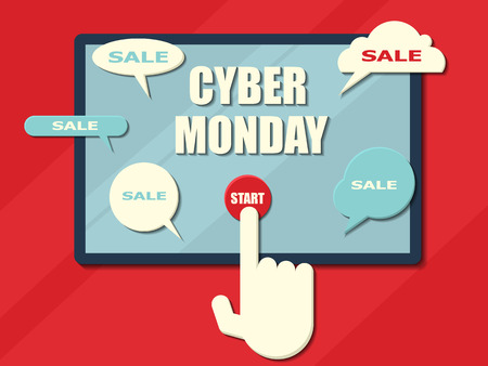 Cyber Monday sale background. Concept banner. Computer tablet with messages Illustration