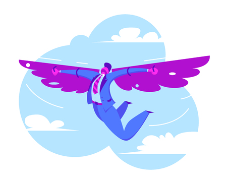 Businessman flying on wings in sky to success. Successful business and freedom. Towards the dream. Vector illustration in flat style
