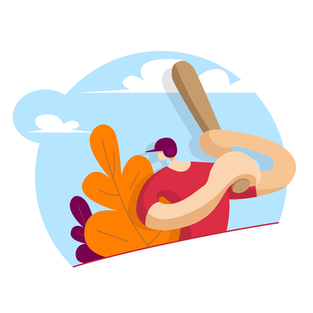 Baseball player with a bat in his hands. Sport concept. Vector illustration in flat style