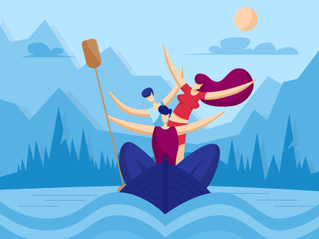 Happy family kayaking. Sport concept. Vector illustration in flat style