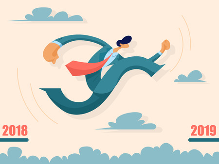 Businessman jumping from past to future. Business concept. Vector illustration in flat style