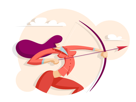 Business woman shoots archery. Business concept. Vector illustration in flat style