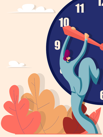 Businessman trying to stop the time. Business concept. Vector illustration in flat style