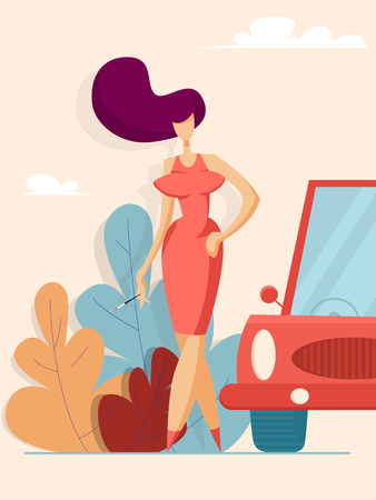Beautiful woman in red dress next to the car. Vector illustration in flat style