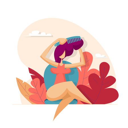 Girl combing hair comb. Beauty concept. Vector illustration in flat style
