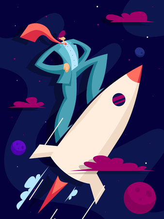 Businessman flies on a rocket up to success. Business concept startup. Vector illustration in flat style