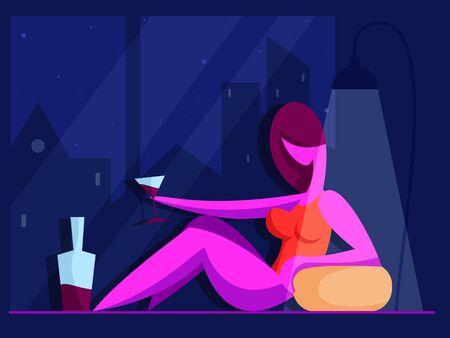 Girl with a glass of wine looks into the night window. Love concept. Vector illustration in flat style 向量圖像
