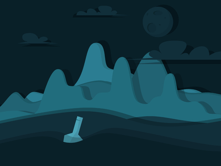 Uninhabited island. Bottle with a note in the sea. Vector illustration in flat style Illustration
