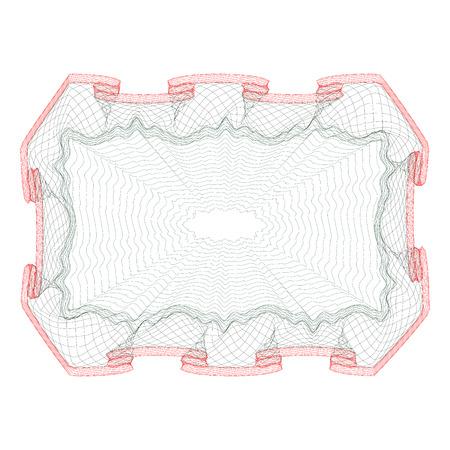 ギョーシェ パターン (透かし) を持つ証明書のテンプレート デザインをベクトルします。  イラスト・ベクター素材