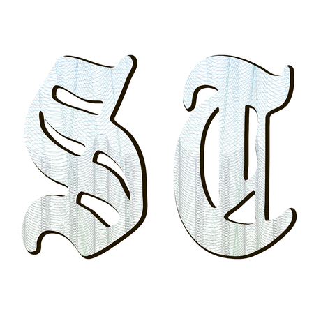Guilloche letters for background certificate,