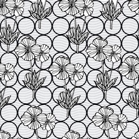 Vector floral seamless pattern, Black and white background with outline hand drawn poppy flowers, Design concept for fabric design, textile print, wrapping paper or web backgrounds. Illustration