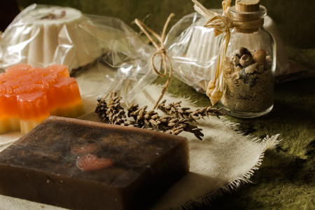 Sparkling muffin and soaps made of natural products. Stock Photo - 114907526