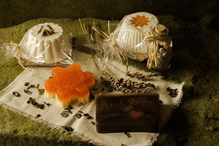 Sparkling muffin and soaps made of natural products. Stock Photo - 114907552