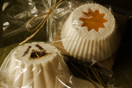 Sparkling muffin and soaps made of natural products. Stock Photo - 114907561