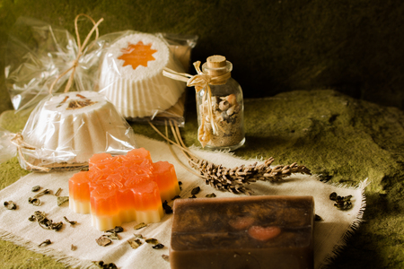 Sparkling muffin and soaps made of natural products. Stock Photo - 114907568