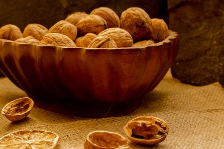 Walnuts in a salad bowl. Stock Photo