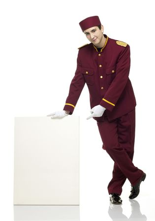 usher: Usher with red uniform and white panel besides him.