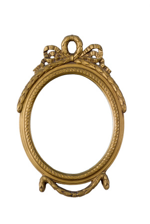 old oval antique golden frame photo