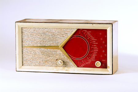 old retro radio with stations from Israel, The Middel East and Europe photo