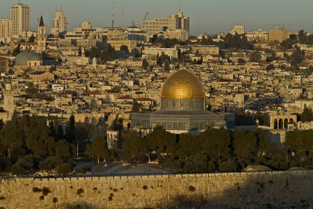 mount of olives: The Old City of Jerusalem At Down from Mount Olives with the Dome Of The Rock Stock Photo
