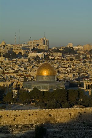 The Old City of Jerusalem At Down from Mount Olives with the Dome Of The Rock Stock Photo - 2284150