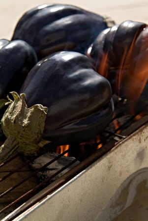 rumanian: eggplants on barbecue grill