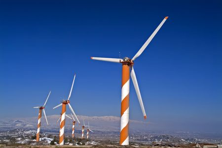 golan: Wind Turbines in the Golan Heights in Israel with snow Stock Photo