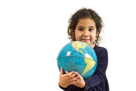 littel girl holding the globe isolated on white Stock Photo - 2575676