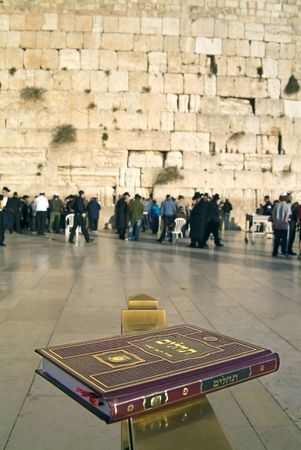 lamentation: Salmi libro di preghiere al muro wailling Gerusalemme, Israele Archivio Fotografico