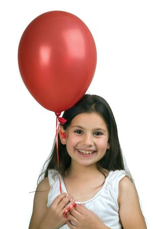 girl holding a red  balloon isolated on white