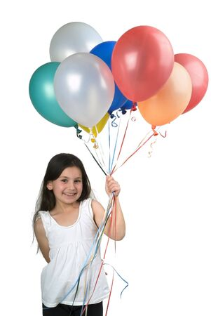 girl holding balloons isolated on white