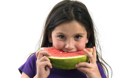 girl eating Watermelon isolated on white background photo