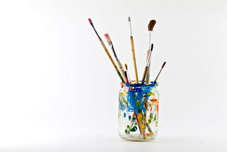 artists brushes in a jar isolated on white Stock Photo