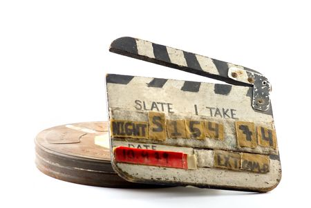 cinema old: Appunti per cinema e bobina casella isolato su bianco  Archivio Fotografico