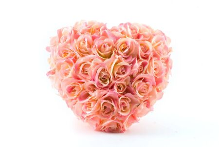 pink artificial roses heart isolated on white Stock Photo - 2897361