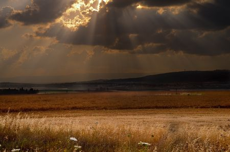 dramatic sunset over the Izraeli valley in the lower  Galilee Israel Stock Photo - 3038004