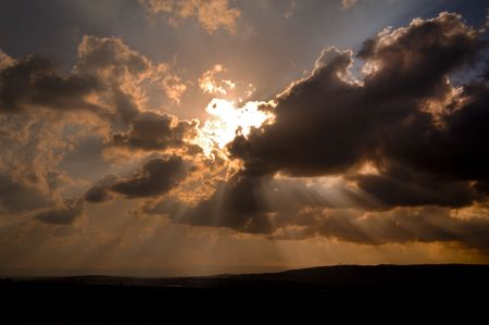 dramatic sunset over the Izraeli valley in the lower  Galilee Israel Stock Photo - 3037967