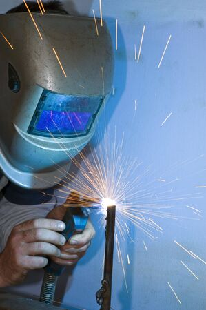 welder at work with safty mask  Stock Photo - 3057566