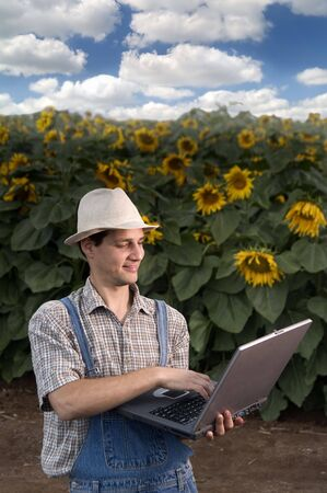 warms: farmer standing in front of a sunflower field with a laptop computer