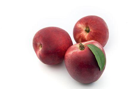 three nectarines isolated on white Stock Photo - 3112587
