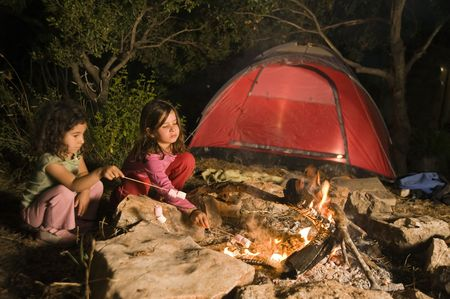 two girls having fun at a bonfire eating marshmallow Standard-Bild - 3137256
