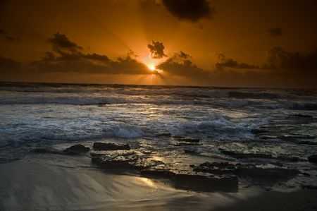 beautiful sunset at the beach Stock Photo - 3159906