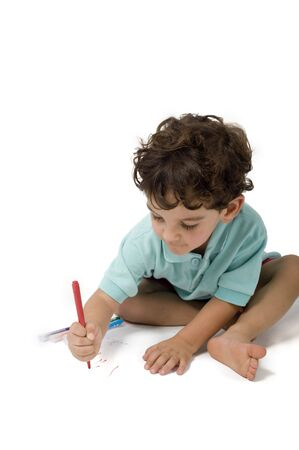 little boy painting  isolated on white Stock Photo - 3222645
