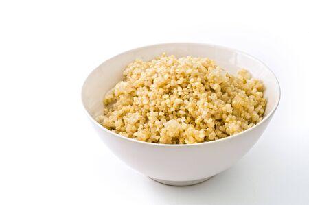onion isolated: taz�n de quinua cocida con cebolla aislados en blanco  Foto de archivo