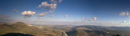 galilee: eastern Galilee panorama in late afternoon from mount Kamun Stock Photo